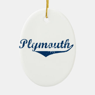 Plymouth Ceramic Oval Ornament