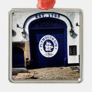 Plymouth Gin Silver-Colored Square Ornament