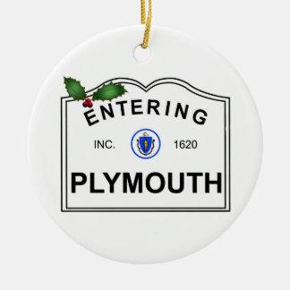 Plymouth MA Round Ceramic Ornament
