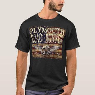 Plymouth Road Runner Against Eroded Flag - Skull T-Shirt
