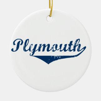Plymouth Round Ceramic Ornament