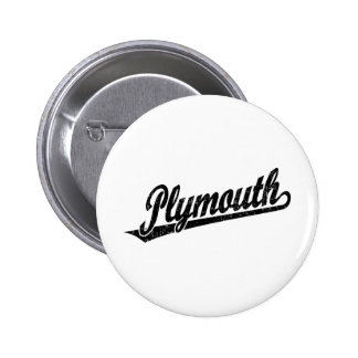 Plymouth script logo in black distressed 2 inch round button