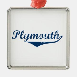 Plymouth Silver-Colored Square Ornament