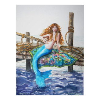 PMACarlson Mermaid on the Dock Poster