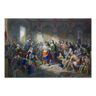 Pocahontas Marriage To John Rolfe Henry Brueckner Poster