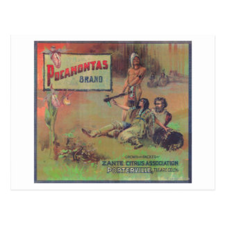 Pocahontas Orange LabelPorterville, CA Postcard