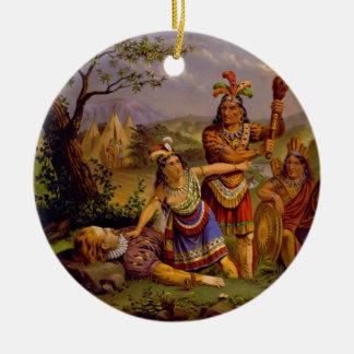 Pocahontas Saving the Life of Captain John Smith Round Ceramic Ornament