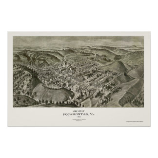 Pocahontas, VA Panoramic Map - 1911 Poster