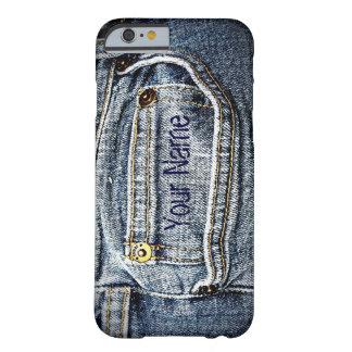 Poche de denim de blue-jean - ajoutez votre nom ou coque barely there iPhone 6