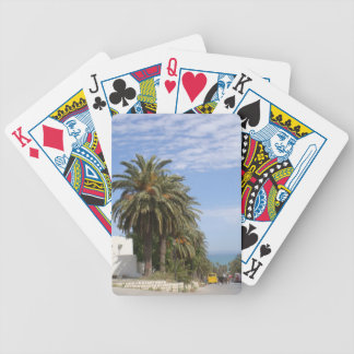 Pocker playing cards with palm alley