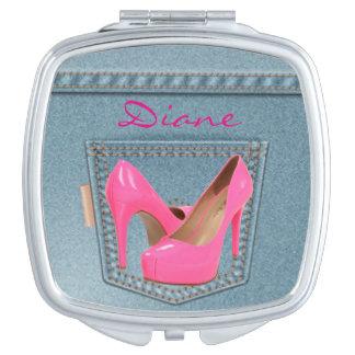 Pocket Denim Blue Jeans pink High Heels Compact Mirror