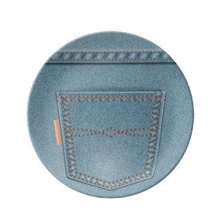Pocket Denim Blue Jeans Plate