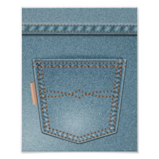Pocket Denim Blue Jeans Poster