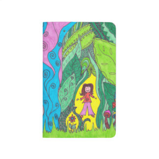 pocket journal -colourful cat and people in nature