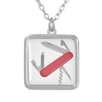Pocket Knife Silver Plated Necklace