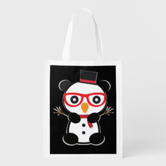 Pocket Panda Bear Snowman Tote Bag -Leon The Panda