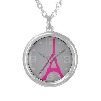 pocket watch elegant Vintage eiffel Paris Silver Plated Necklace