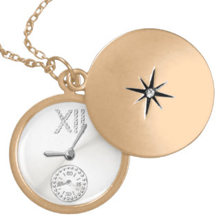 pocket watch elegant Vintage stone Paris Locket Necklace