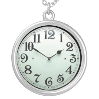 pocket watch silver plated necklace