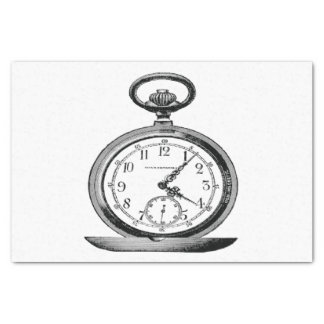 Pocket Watch Vintage Retro Graphics Tissue Paper