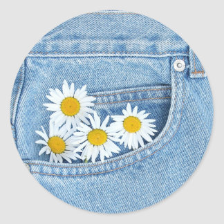 Pocketful of daisies classic round sticker