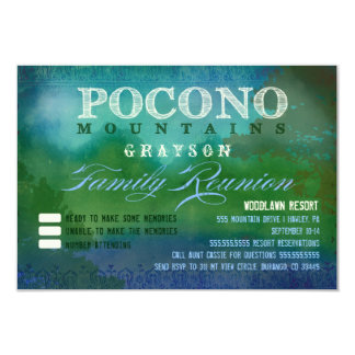 "POCONOS Family Reunion 3.5"" X 5"" Invitation Card"