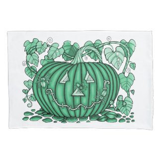 Pod-Green Spidery Pumpkin Pillowcase