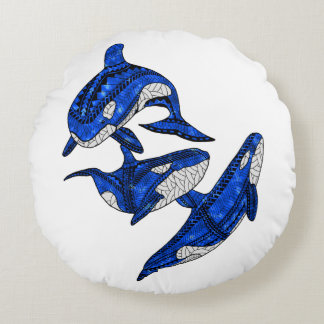 Pod Of 3 Tribal Orcas Round Pillow