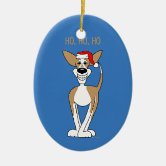 Podenco Santa Ceramic Ornament