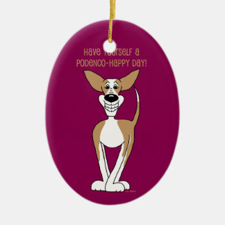Podenco Smile Ceramic Ornament