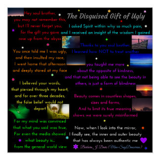 """Poem """"Disguised Gift of Ugly"""" 20"""" x 20"""" Poster Perfect Poster"""