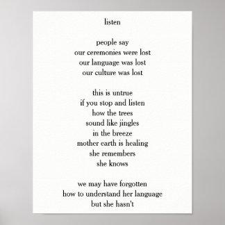 """Poem - """"listen"""" poster"""