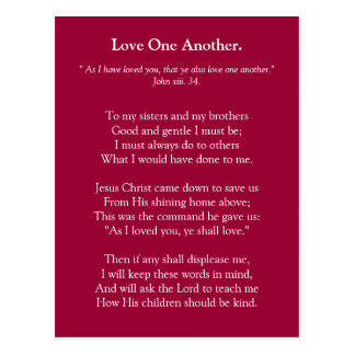 Poem Love one another Postcard