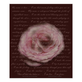 """Poem """"My name is love"""" Floral Print"""