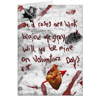 poème de valentine de zombi carte de vœux