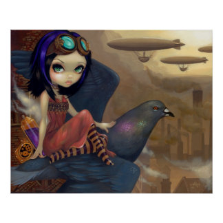Poe's Flight ART PRINT steampunk fairy urban
