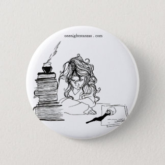 Poetgirl pin. 2 inch round button