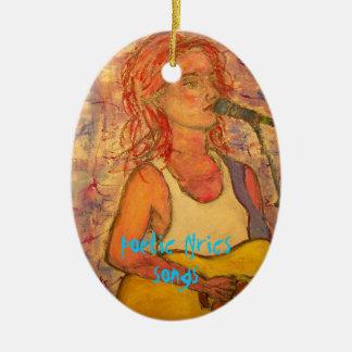 poetic lyrics & song girl art ceramic oval ornament