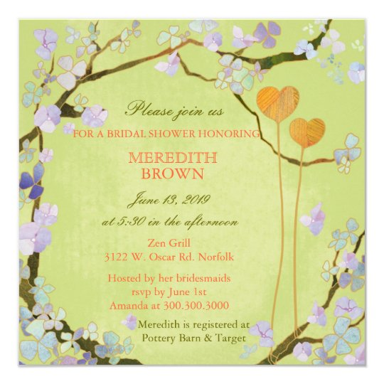 """Poetic Two Hearts Spring Bridal Shower 5.25"""" Square Invitation Card"""