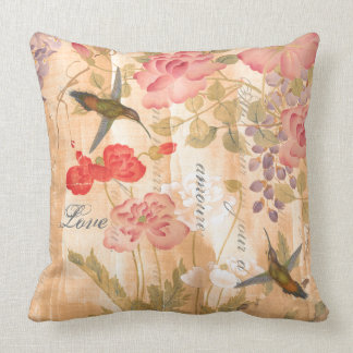 Poetry Asian Wisteria Rose Flower Floral Pillow