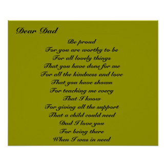 Poetry for dad father's day tribute poster