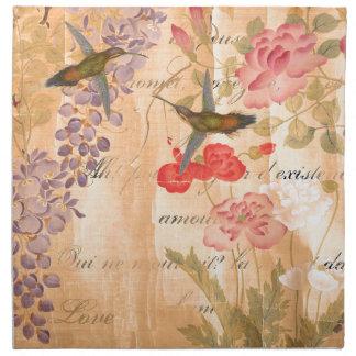 Poetry Rose Wisteria Flower Floral Hummingbirds Napkin