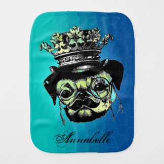 Pog Dog - Aqua Graphic Illustration Burp Cloth
