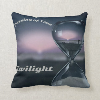 Poignant Sands Of Time Hourglass Sunset On Beach Throw Pillow