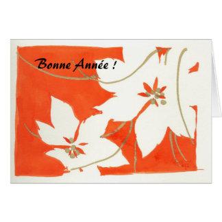 Poinsetia Bonne Année Card