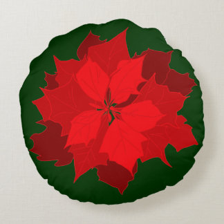 Poinsetta modern Christmas red green throw pillow