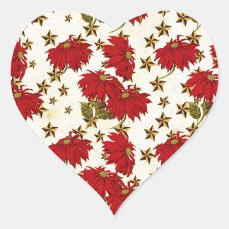 Poinsetta pattern heart sticker