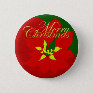 Poinsettia 2 Inch Round Button