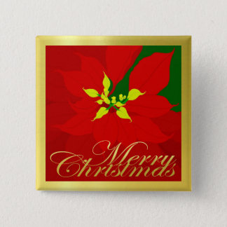 Poinsettia 2 Inch Square Button