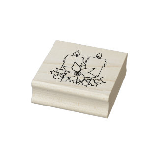 Poinsettia And Candles Christmas Rubber Stamp